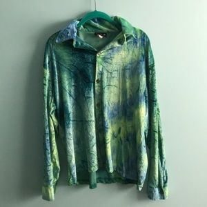 Vintage Velour Tie Dye Blouse